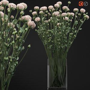 bouquet small beige shrub 3D