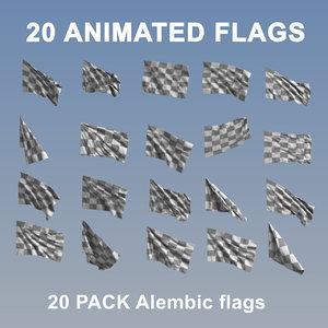 20 flags 3D
