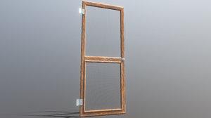 3D low-poly screened door model