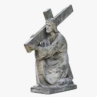 christ holding cross statue 3D model