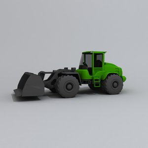 3D model backhoe tractor