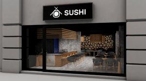 restaurant sushi 3D model