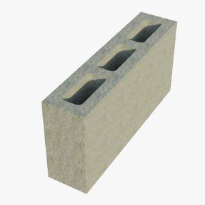 3D 16x4x8 cinder block 1