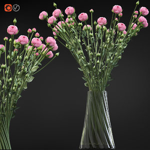 swirling bouquet small pink 3D model