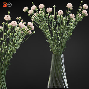 swirling bouquet small beige 3D model