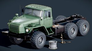 3D model ural military truck russian