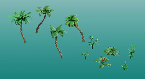 3D model tropical plants