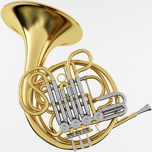 3D french horn model