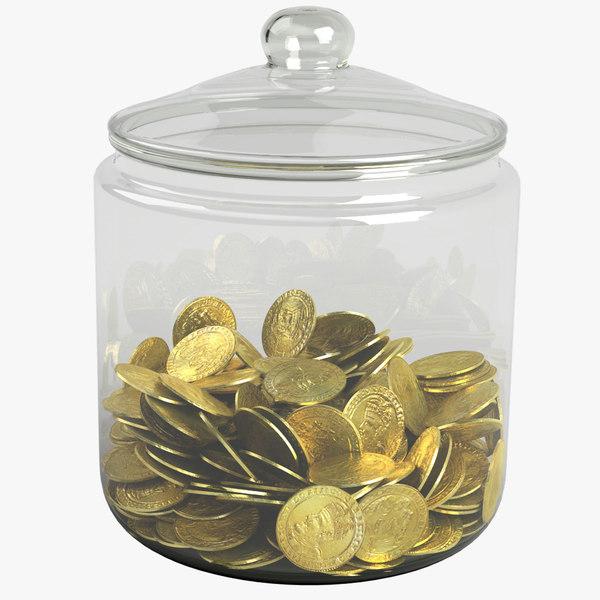 3D gold coin jar
