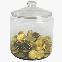 3D gold coin jar