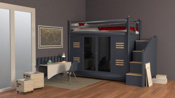 room bunk beds modern furniture 3D
