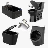 black sanitary toilet pack 3D model
