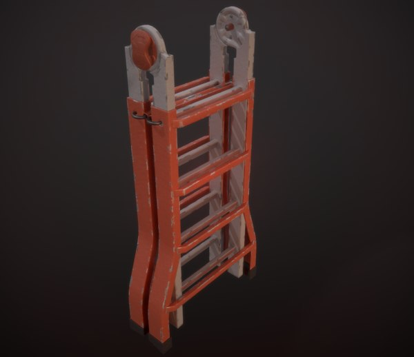 3D pbr metallic ladder -