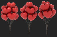 red heart shaped balloons for valentines day 3D model