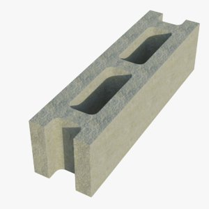 14x4x4 cinder block stretcher 3D
