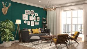 3D mid-century modern living room model