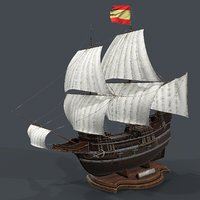 3D galleon ships oceans