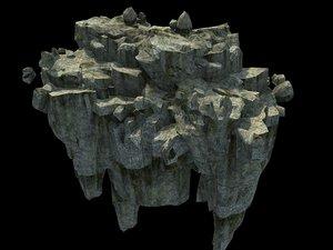 3D stone rock mountain