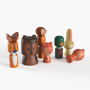 3D wooden forest animals model