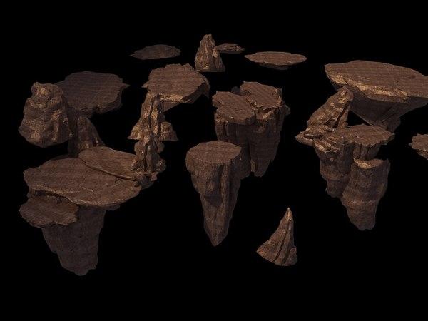 3D stone rock mountain model