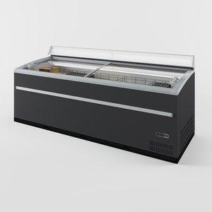 glass display chest freezer 3D model