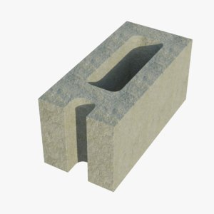corner cinder block 1 3D