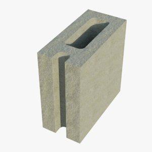 8x4x8 corner cinder block model