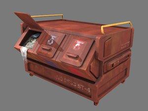 3D model pbr brown dumpster