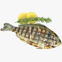 realistic grilled fish 3D model