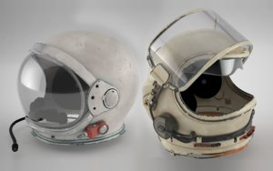 3D model space helmets mercury soviet