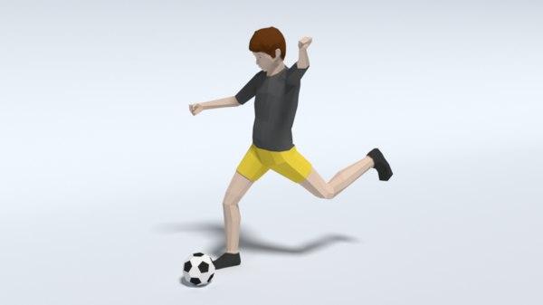 kid playing football 3D model