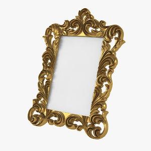 3D realistic baroque photo frame model