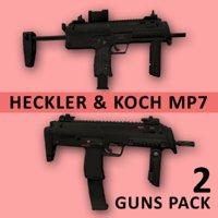 hk mp7-a1 mp7-a2 submachine gun 3D model