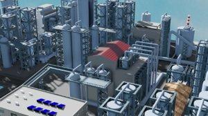 mega refinery industrial 3D model