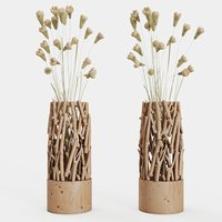 3D small wood vase stand