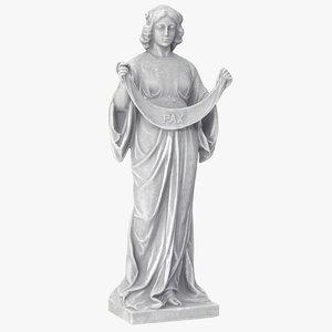 3D model woman bunting statue v2