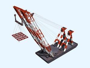 3D floating crane3000t model