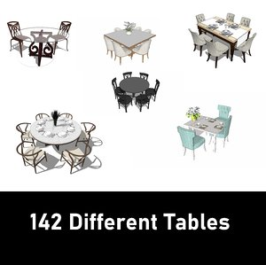 142 different table 3D model