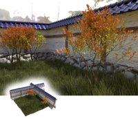 Japanese garden with wall, bushes and gras
