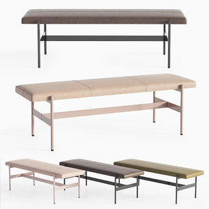 modern leather daybench blu 3D
