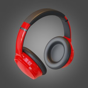 3D model headphone red pbr subdivision