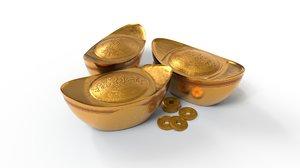 3D model gold ingot