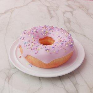 3D pink donut sprinkles plate model