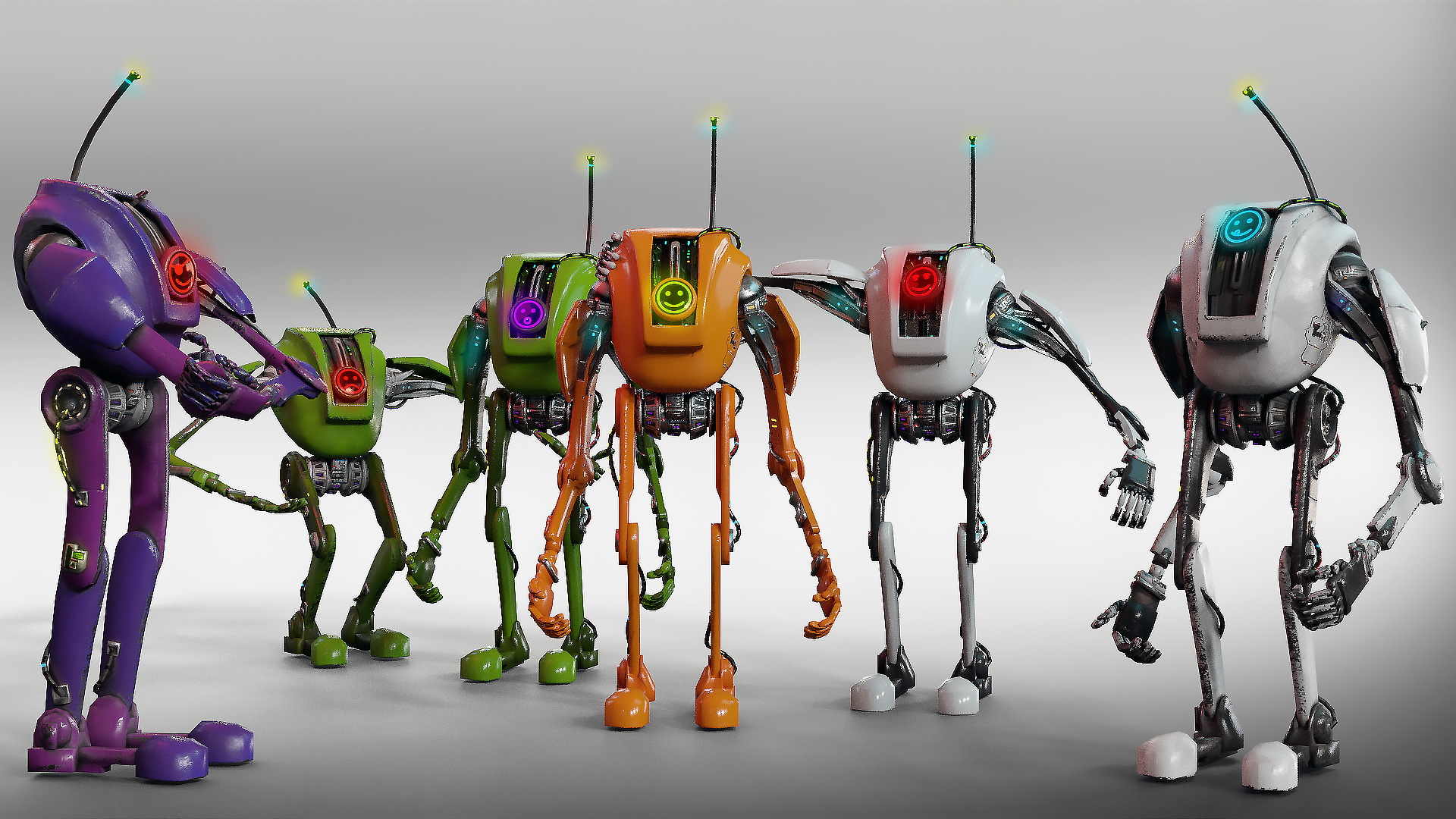 ready robot different skins 3D model