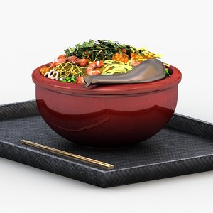3D sushi rice meal model