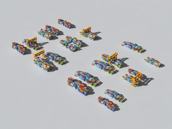 3D color container crane