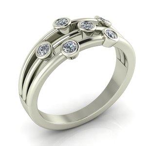 3D unique ring gems engagement
