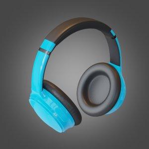headphone blue pbr subdivision 3D