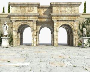 3D ancient gate building architecture model