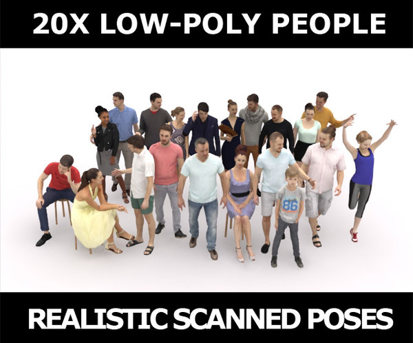 scanned characters people casual 3D model